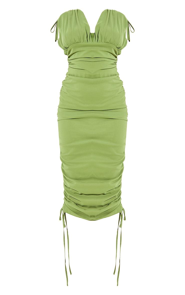 Green Chiffon Sleeveless Ruched Plunge Midi Dress 5
