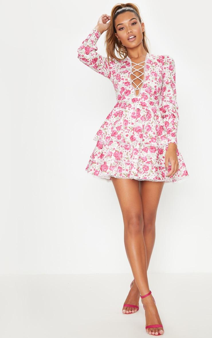 Pink Floral Trim Detail Tiered Skater Dress 4