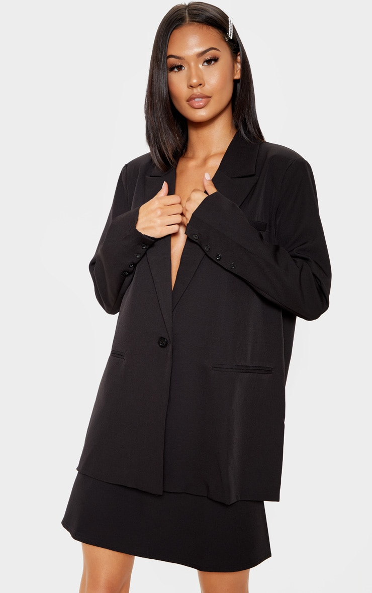 Black Woven A Line Mini Skirt 1