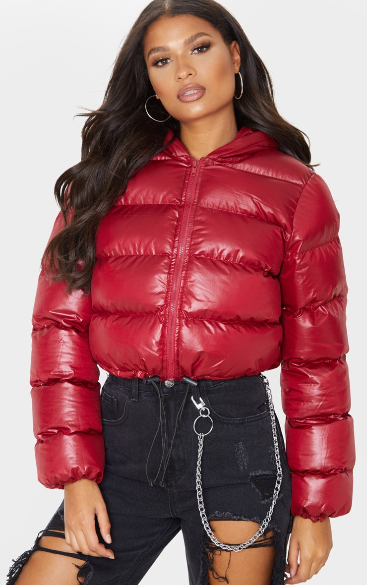 Burgundy Crop Toggle Detail Puffer 5