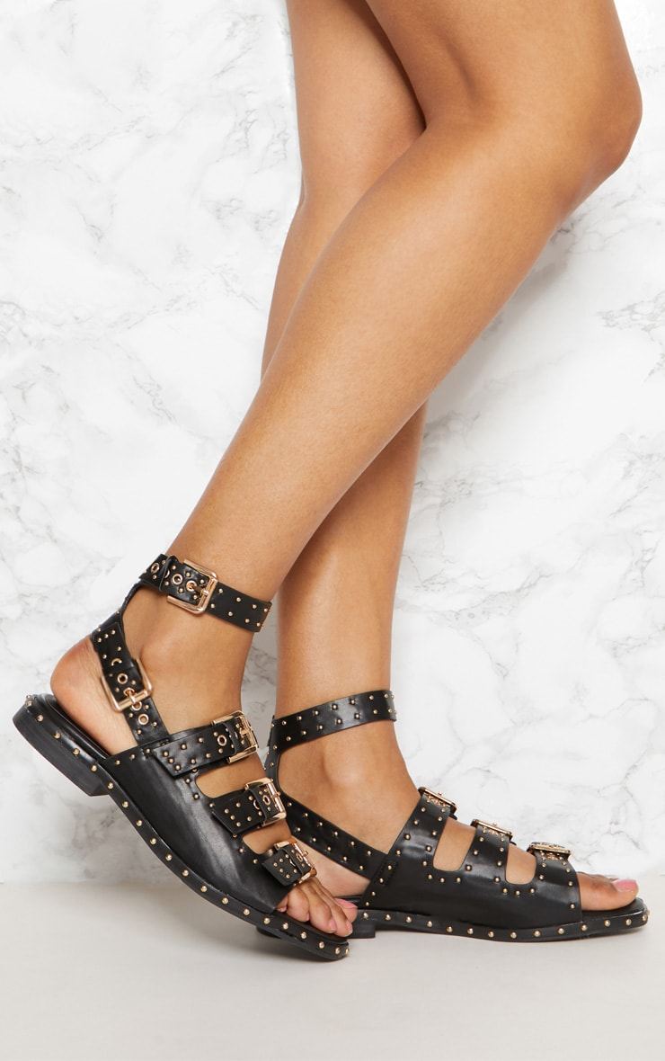 Black Studded Buckle Sandal