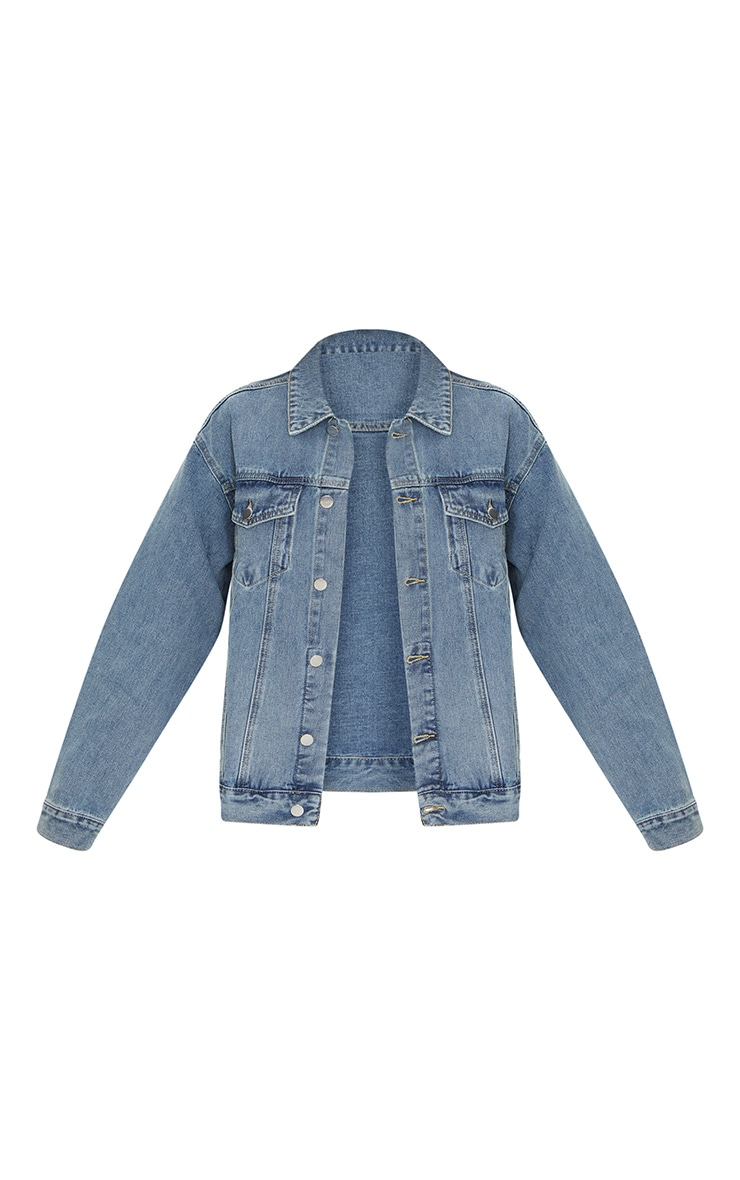 PRETTYLITTLETHING Vintage Wash Oversized Boyfriend Denim Jacket 5