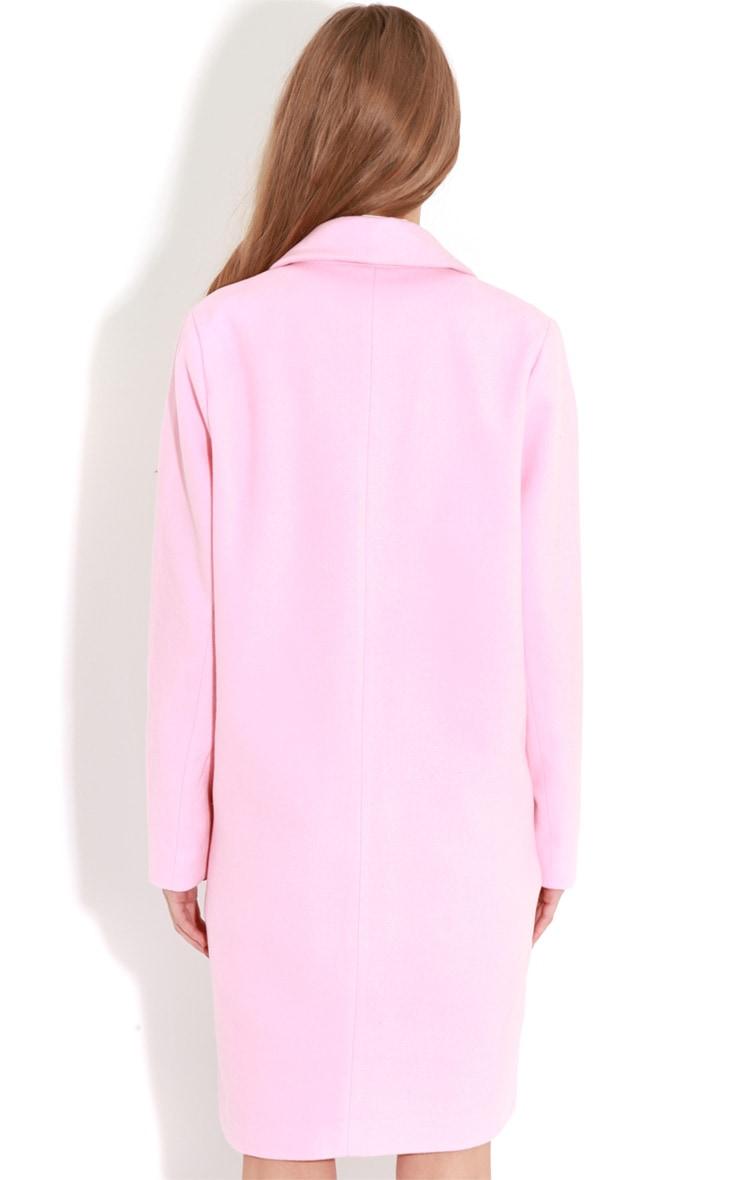Avril Pink Longline Boyfriend Coat  2