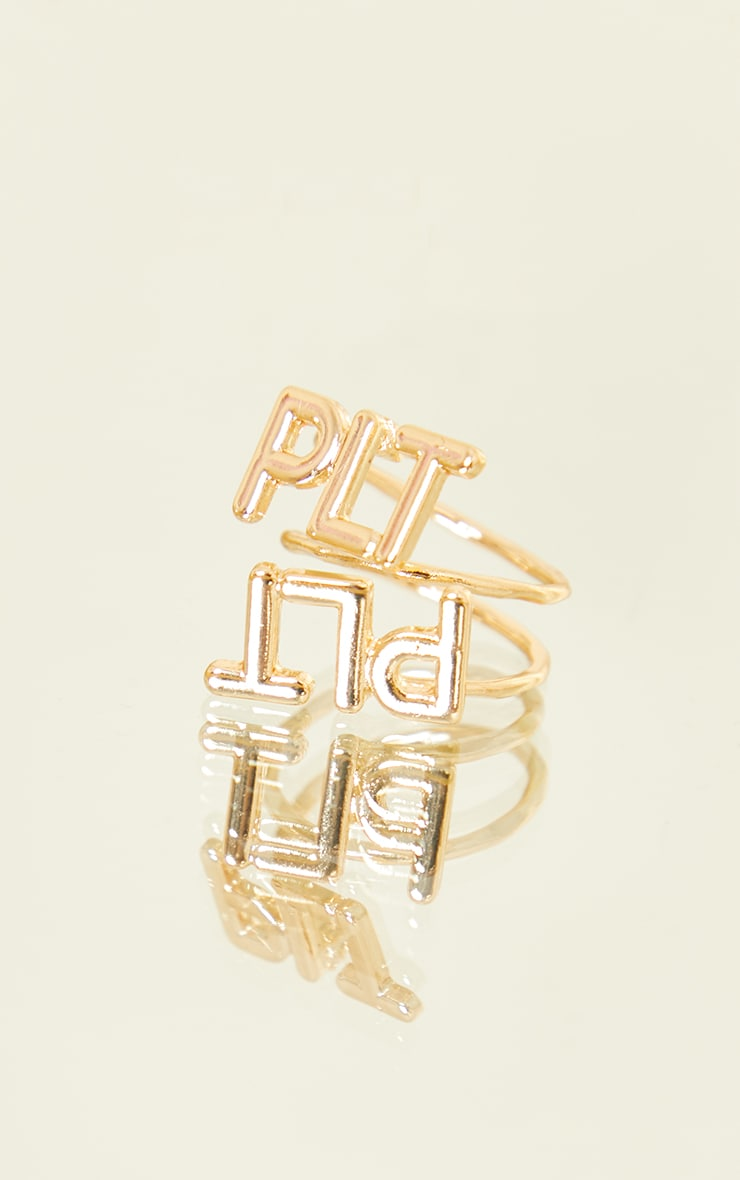 PRETTYLITTLETHING Gold Cut Out Ring 1