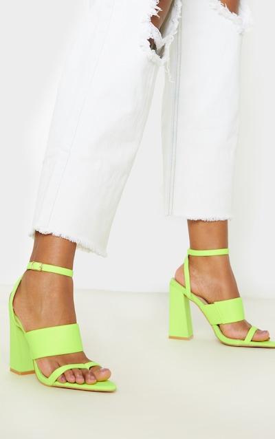 Neon Lime Toe Loop Point Toe Block Heel Sandal