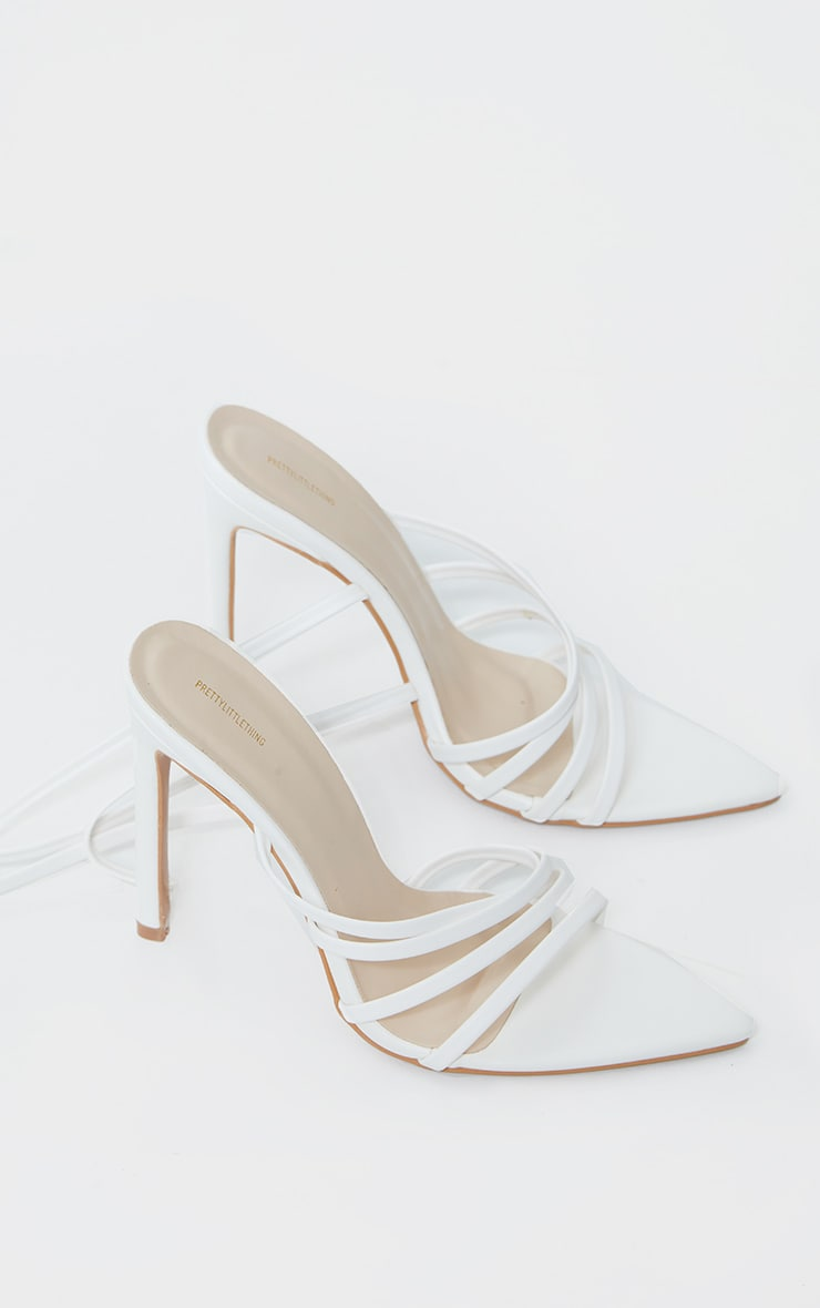 White Pointed Toe Multi Strap Asymmetric High Heels 3