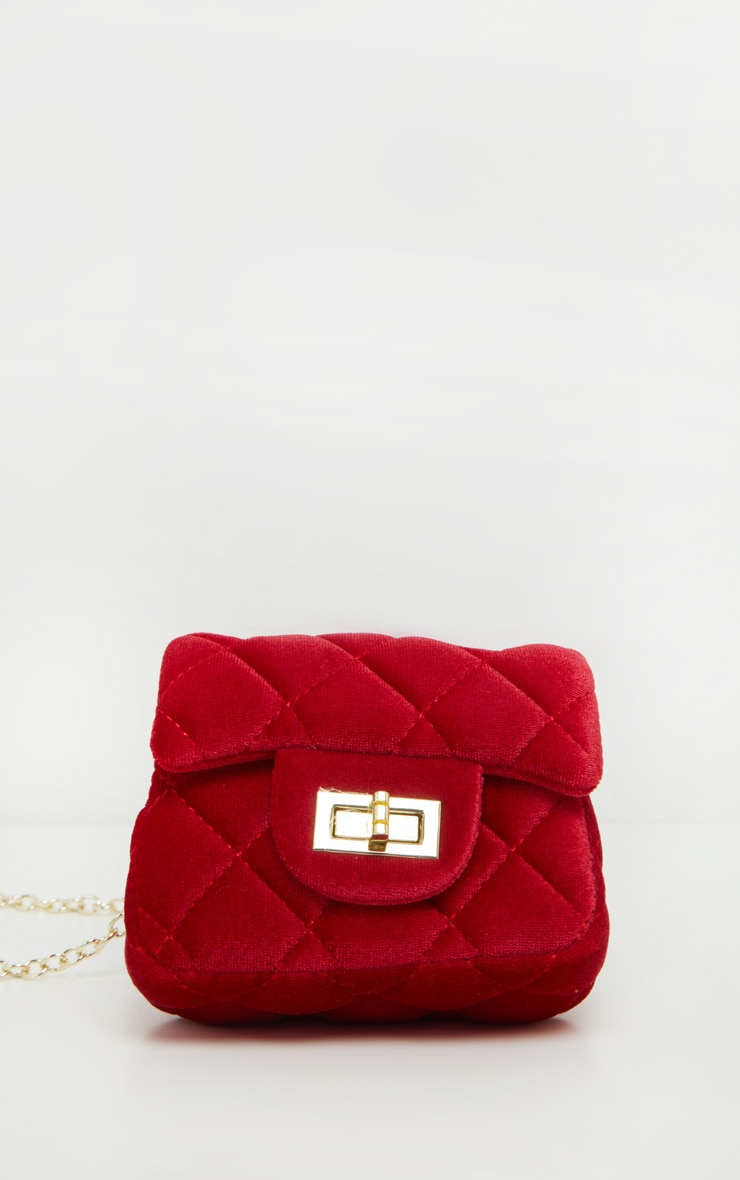 Red Quilted Mini Cross Body Bag  2