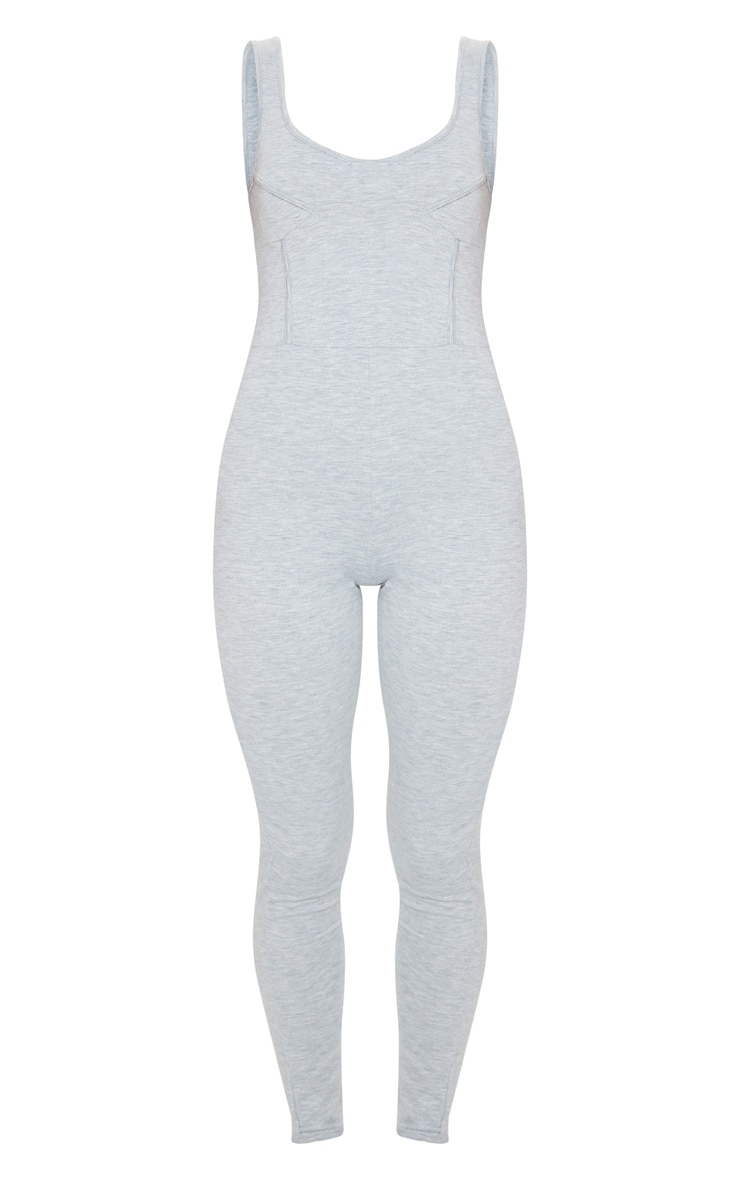 Grey Marl Soft Binding Detail Sleeveless Jumpsuit 5