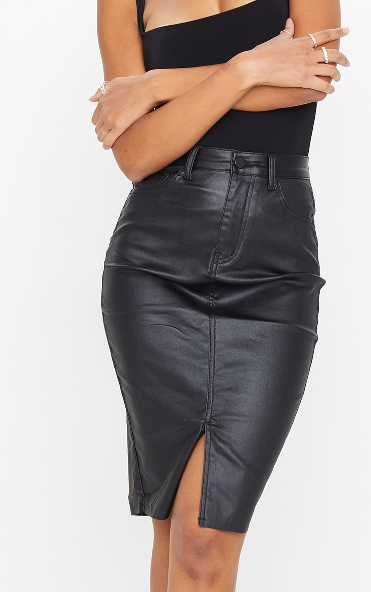 Black Coated Denim Midi Skirt 4