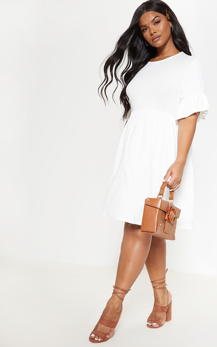 Plus White Frill Detail Smock Dress 4