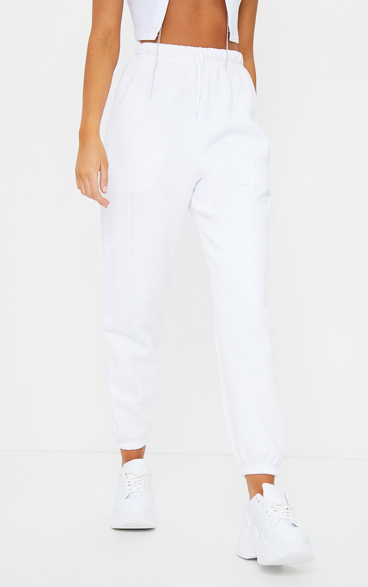 White Seam Front Detail Joggers 2