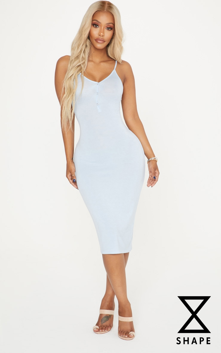 Shape Light Blue Popper Detail Midi Dress 1