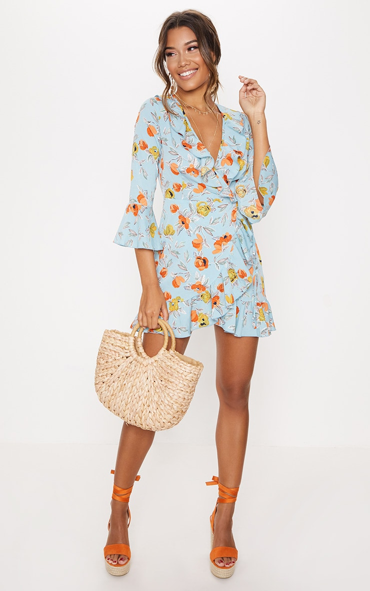 TURQUOISE FLORAL PRINTED FRILL WRAP TEA DRESS