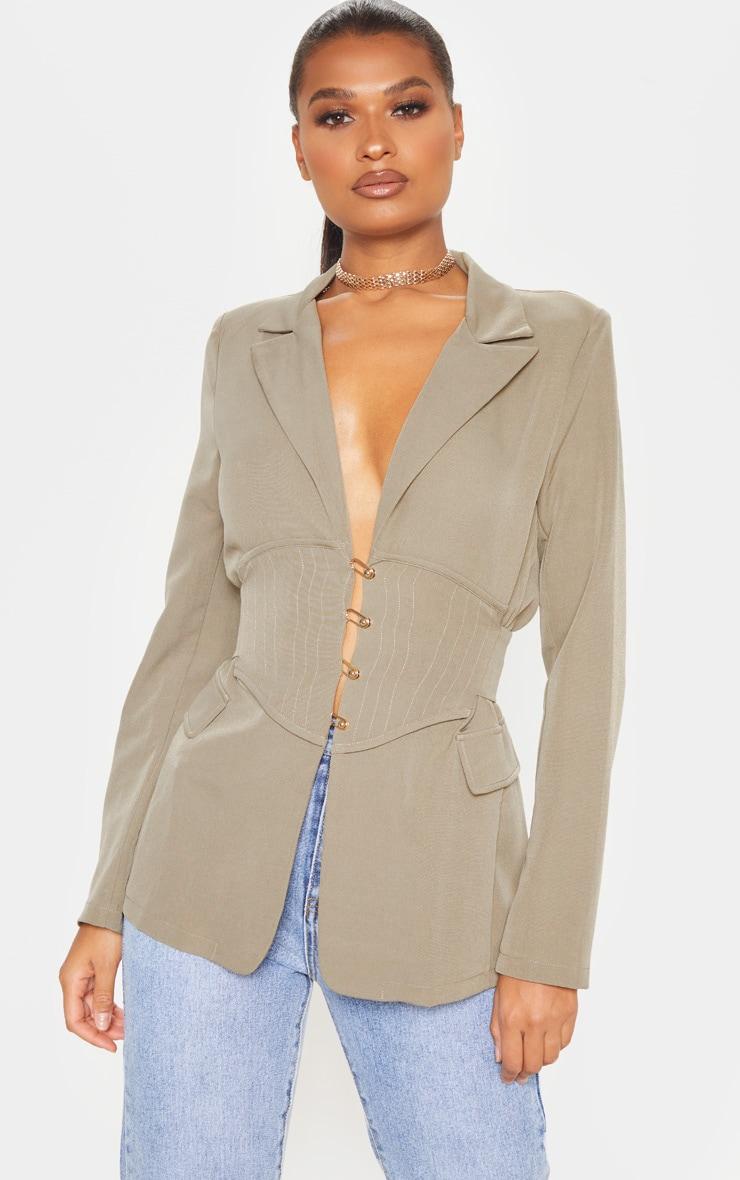 Khaki Corset Woven Blazer image 5