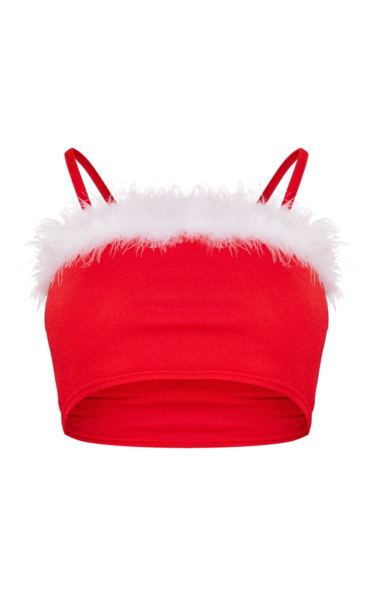 Red Fluffy Edge Crop Top 3