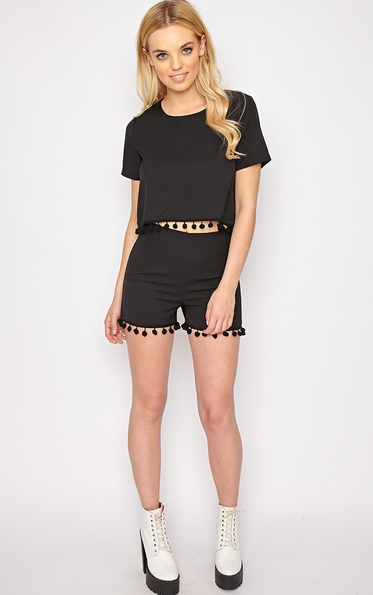 Sierra Black Pom Pom Crop Top  5