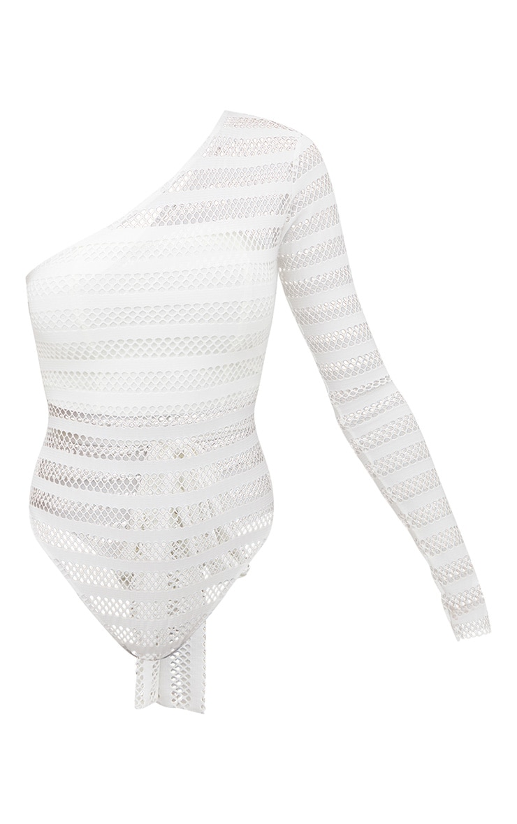 White Fishnet One Shoulder Thong Bodysuit  3
