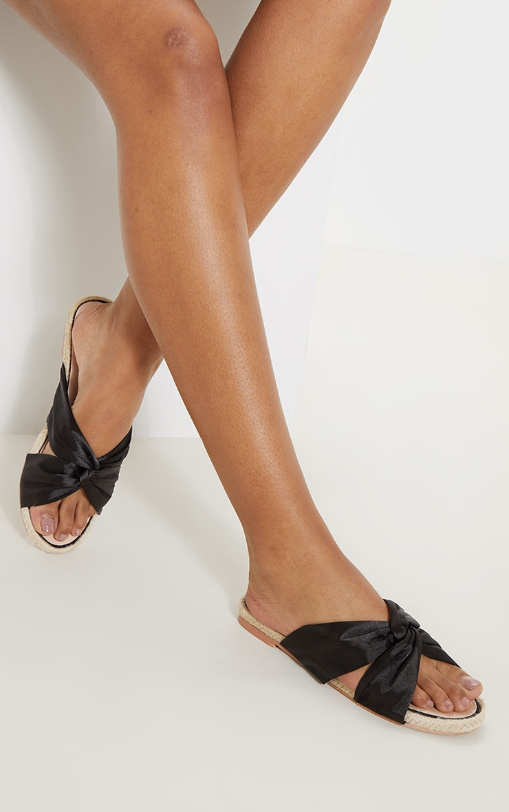 Sandales plates style espadrilles à noeud noires 2