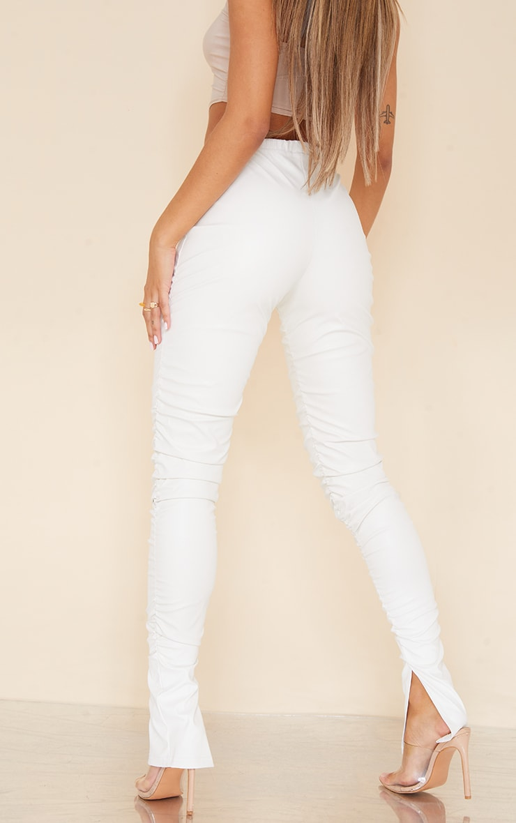 Cream Faux Leather Ruched Leg Split Hem Leggings 3