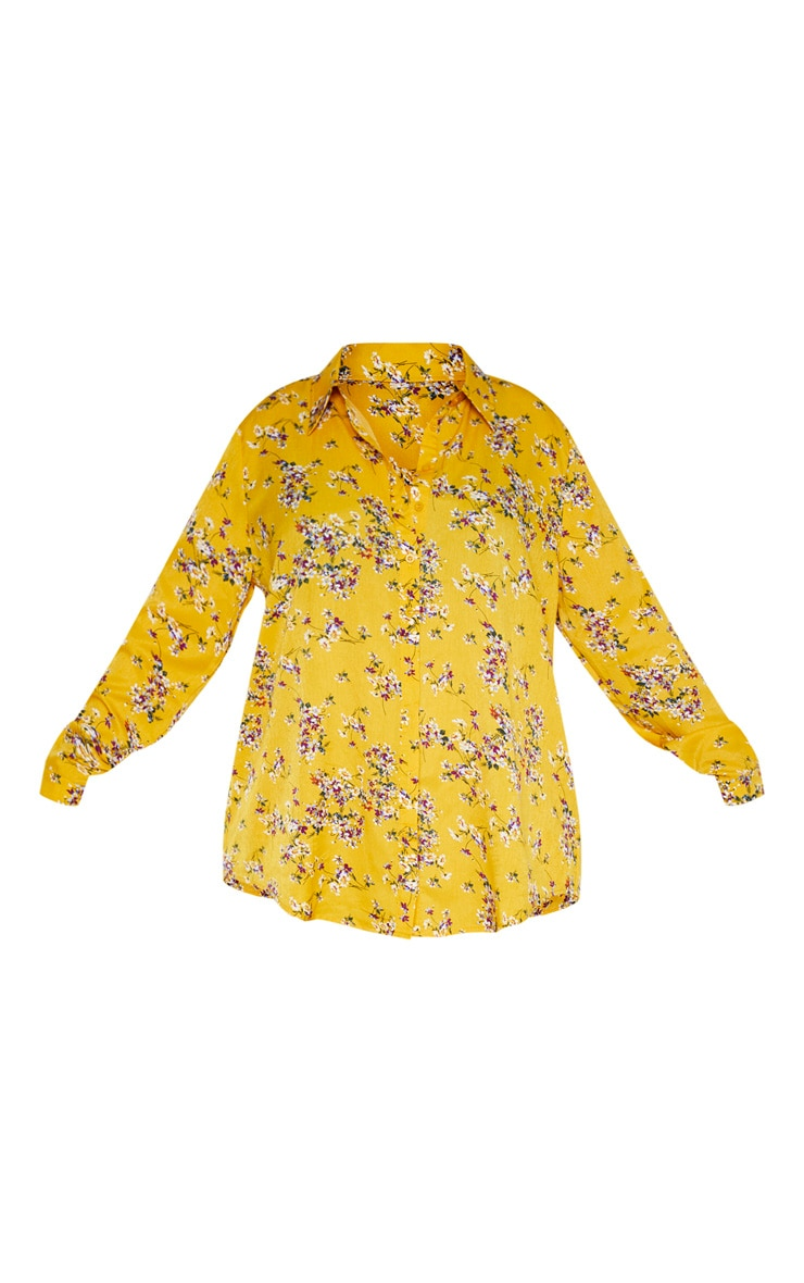 Plus Yellow Floral Oversized Shirt  3