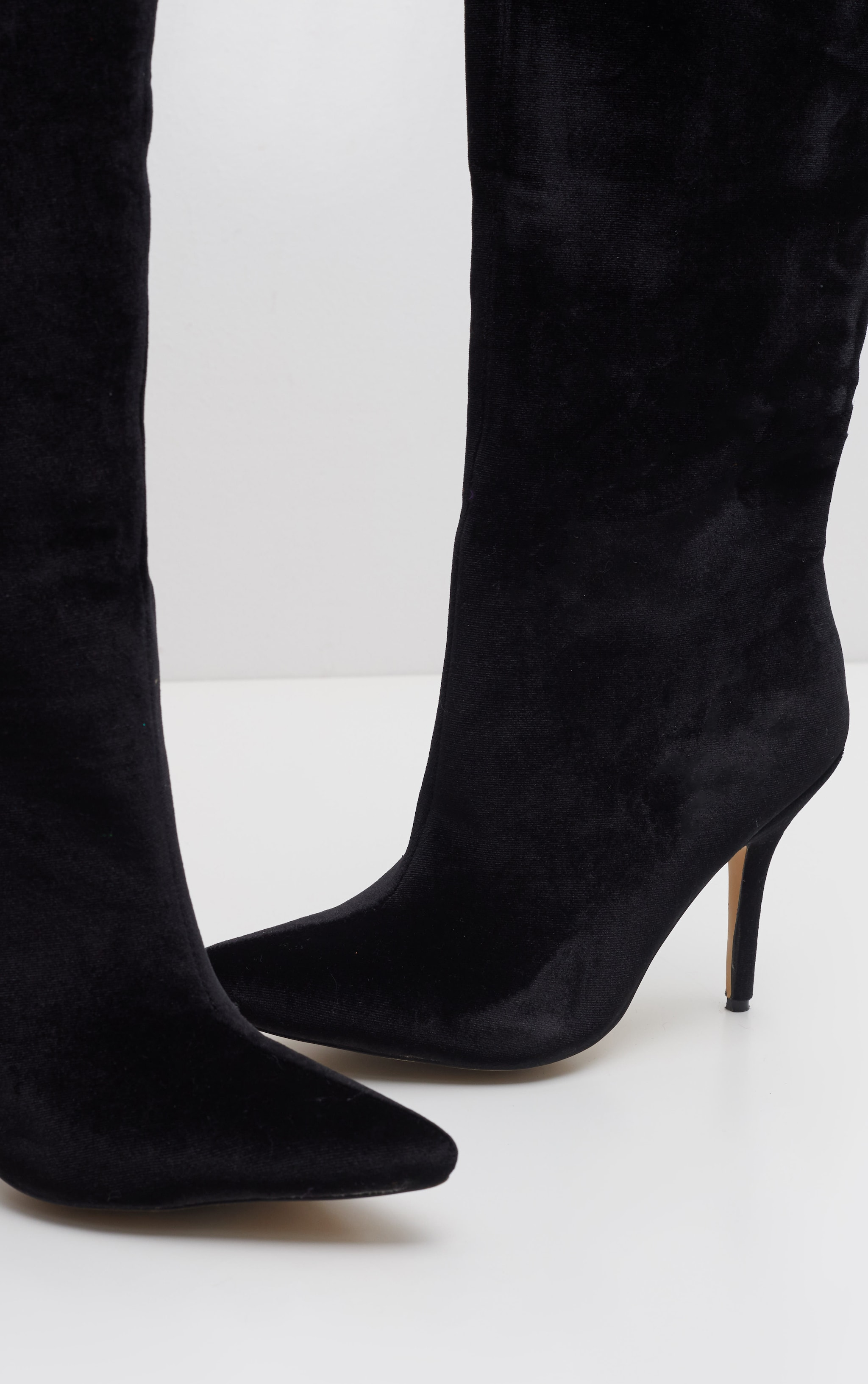 Black Velvet Over The Knee Mid Heel Boot 4