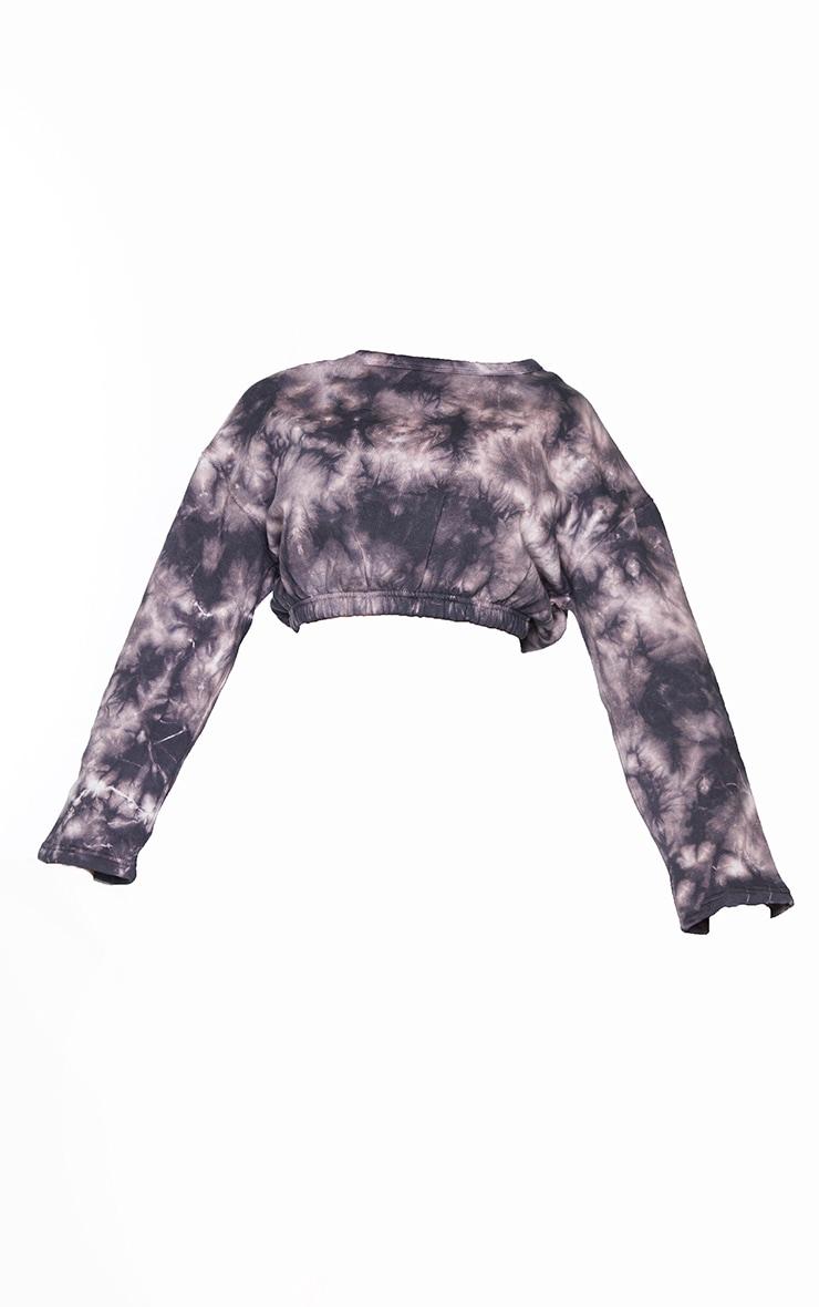 Shape Mauve Tie Dye Elasticated Hem Cropped Sweatshirt 5