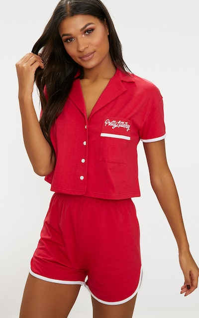 PRETTYLITTLETHING Red Embroidered Short PJ Set e828a2e92