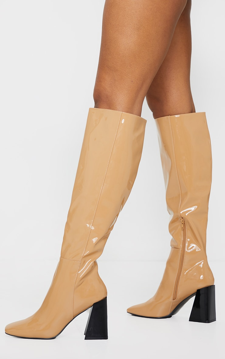 Camel Patent PU Flare Block Heel Square Toe Over Knee Boot 1