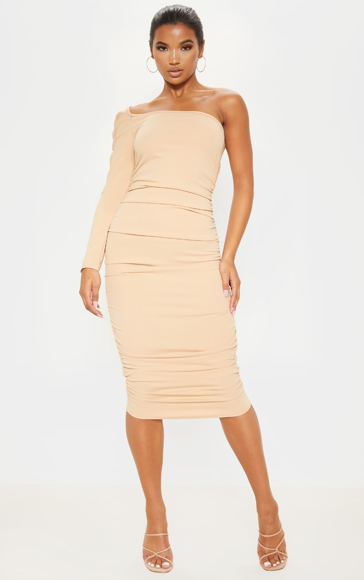 Stone One Shoulder Ruched Detail Midi Dress 4