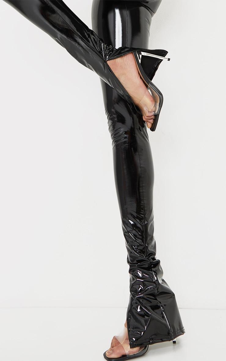 Tall Black Split Hem High Waisted Flared Vinyl Pants 4