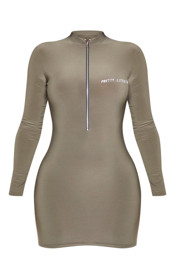 PRETTYLITTLETHING Shape Khaki Zip Detail Bodycon Dress 3
