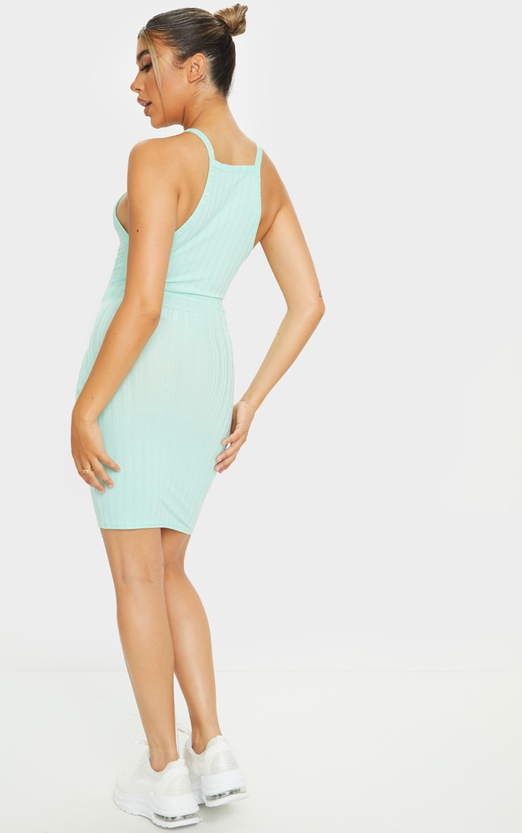 Mint Recycled Rib Racer Neck Bodycon Dress 2