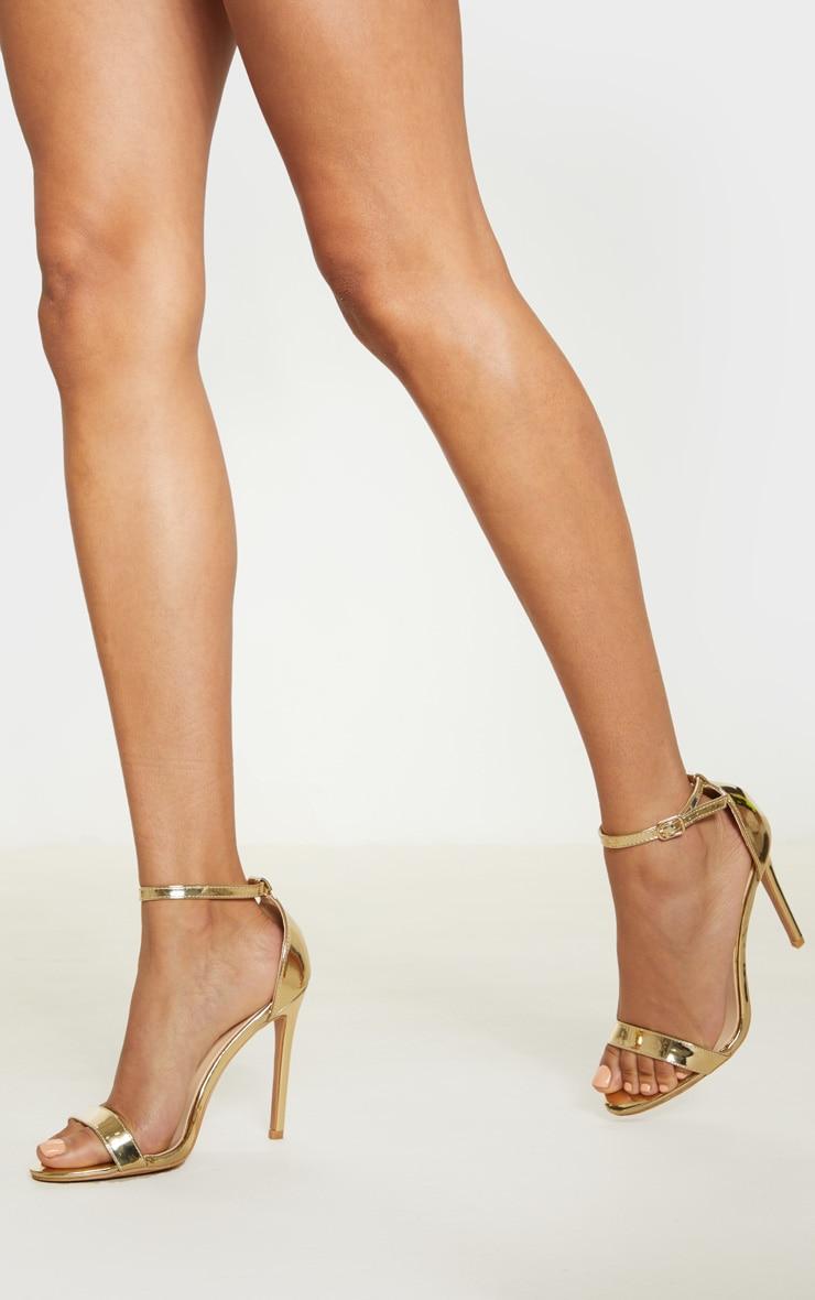 Shiny Gold Clover Strap Heeled Sandal  2
