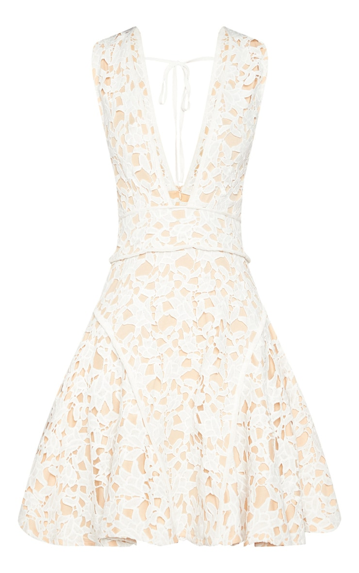 White Thick Lace Plunge Binding Detail Skater Dress 3