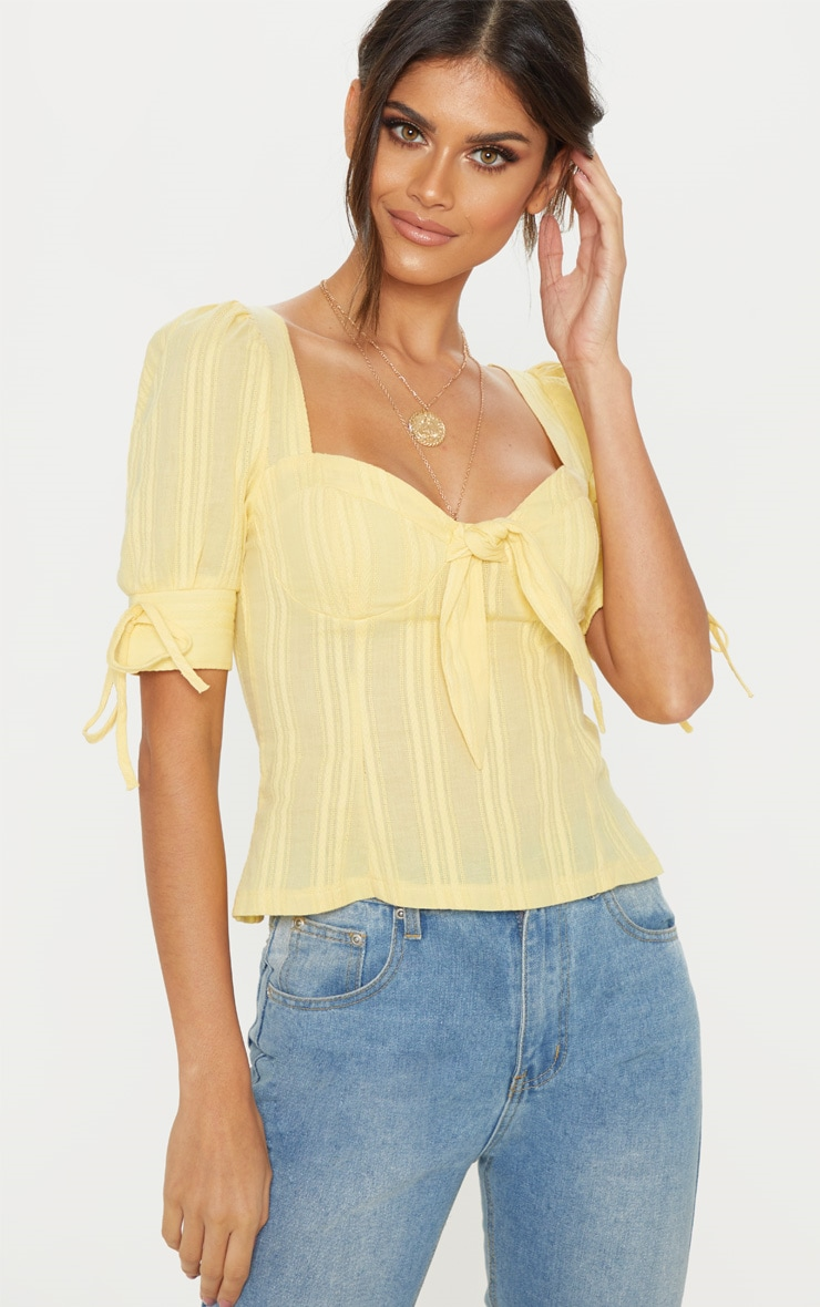 Lemon Crochet Cup Detail Short Sleeve Top 4