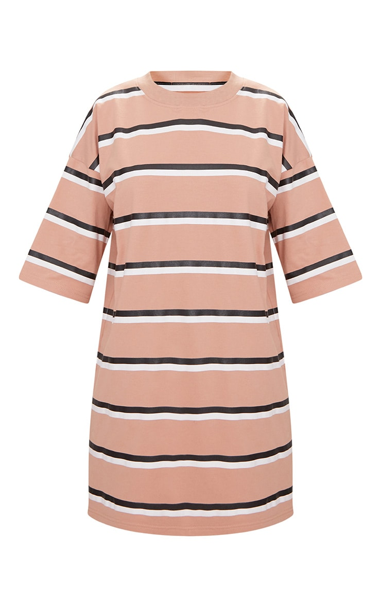Camel Striped Oversized Boyfriend T Shirt Dress 3