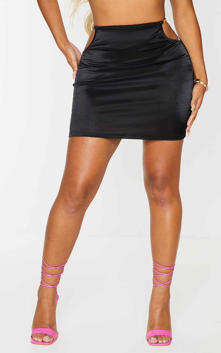 Shape Black Metallic Chain Detail Bodycon Skirt 2