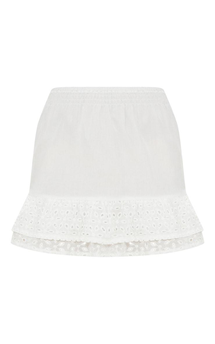 Petite White Broderie Anglaise Detail Mini Skirt 3