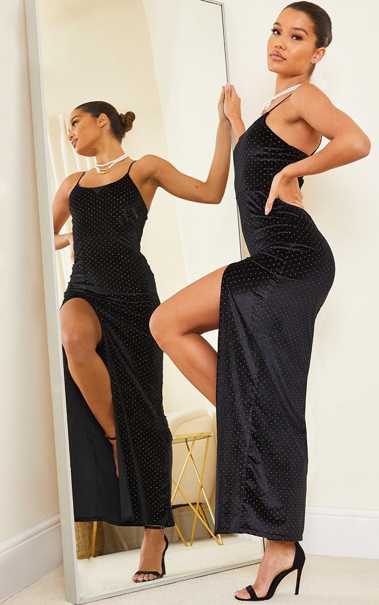 Black Studded Velvet Strappy Maxi Dress 3