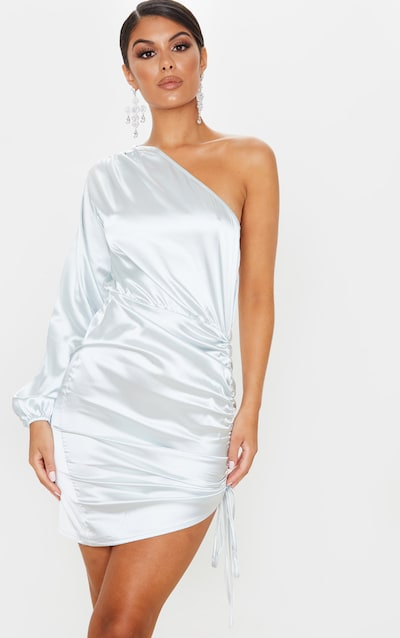 Silver One Shoulder Ruched Satin Bodycon Dress