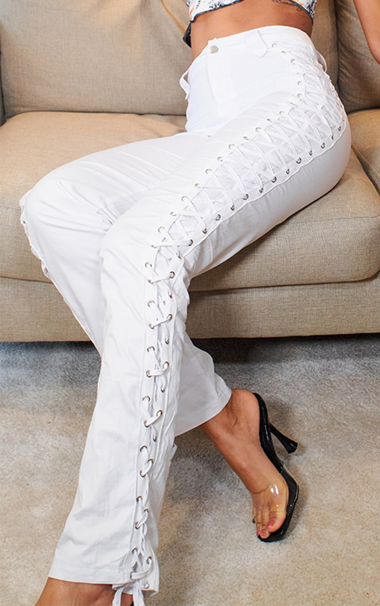 White Woven Eyelet Lace Up Detail Straight Leg Trouser 4
