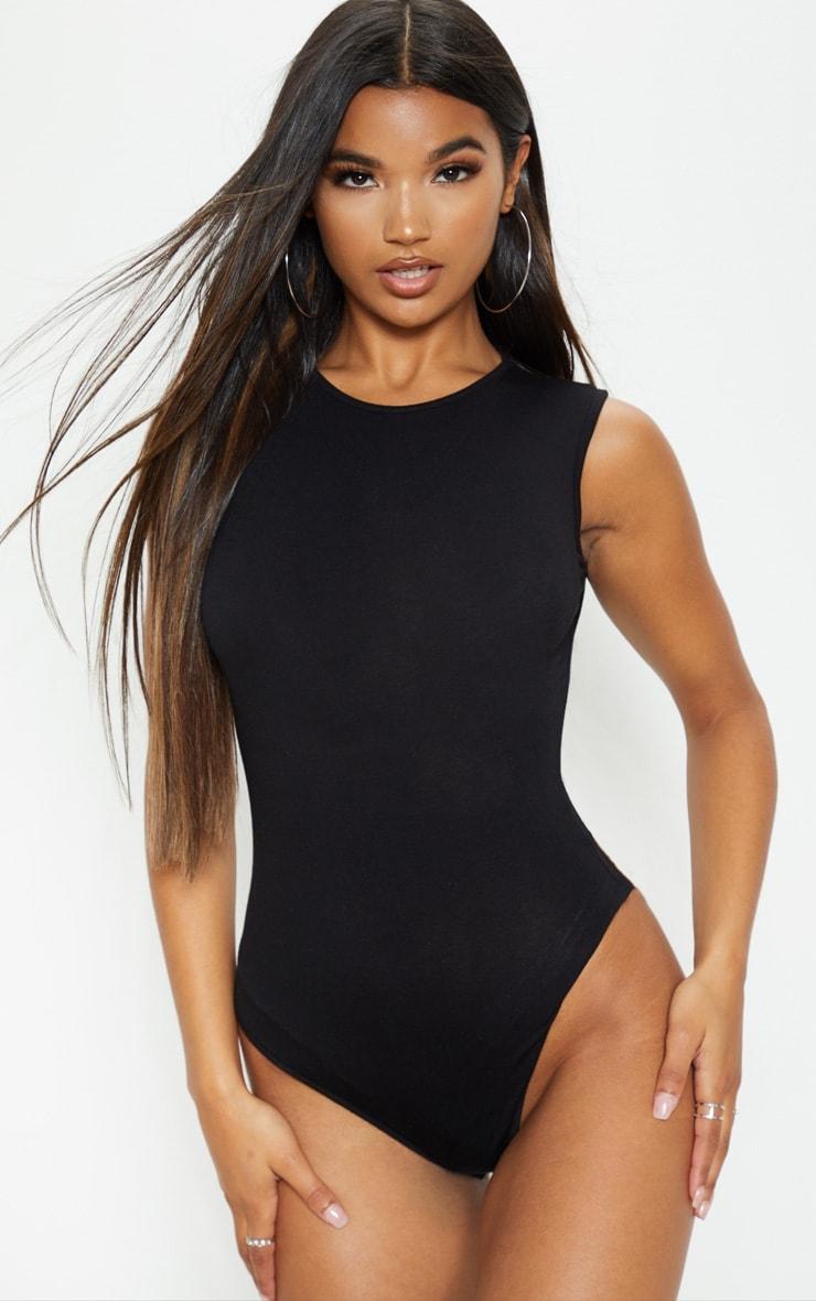Essential Black Cotton Blend High Neck Thong Bodysuit 2