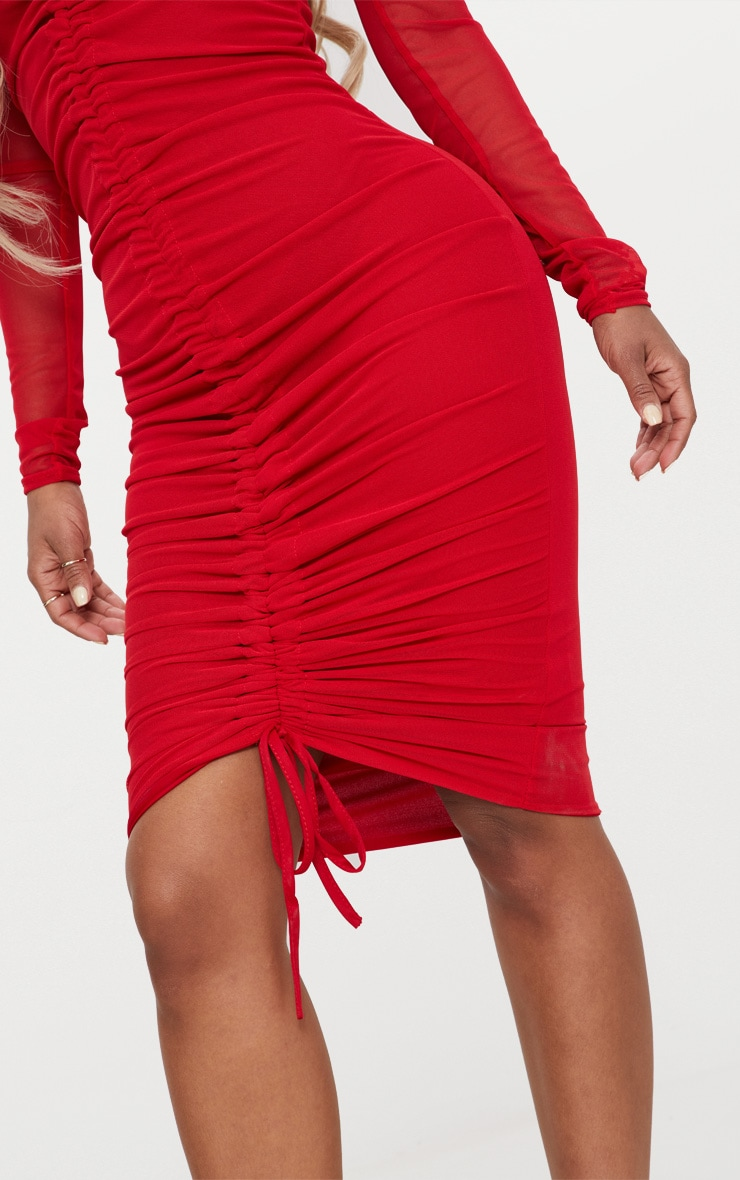 Shape Red Mesh Ruched Bardot Midi Dress 5