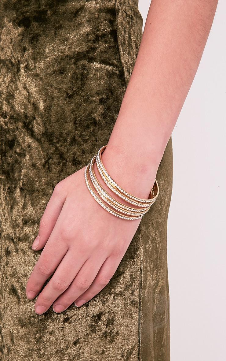 Lunett Gold Diamante Multi Pack Bangles 2
