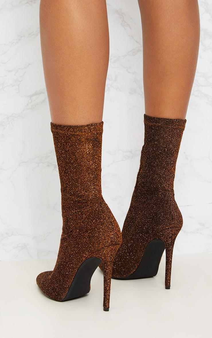 Bronze Glitter Sock Pointy Boots 4