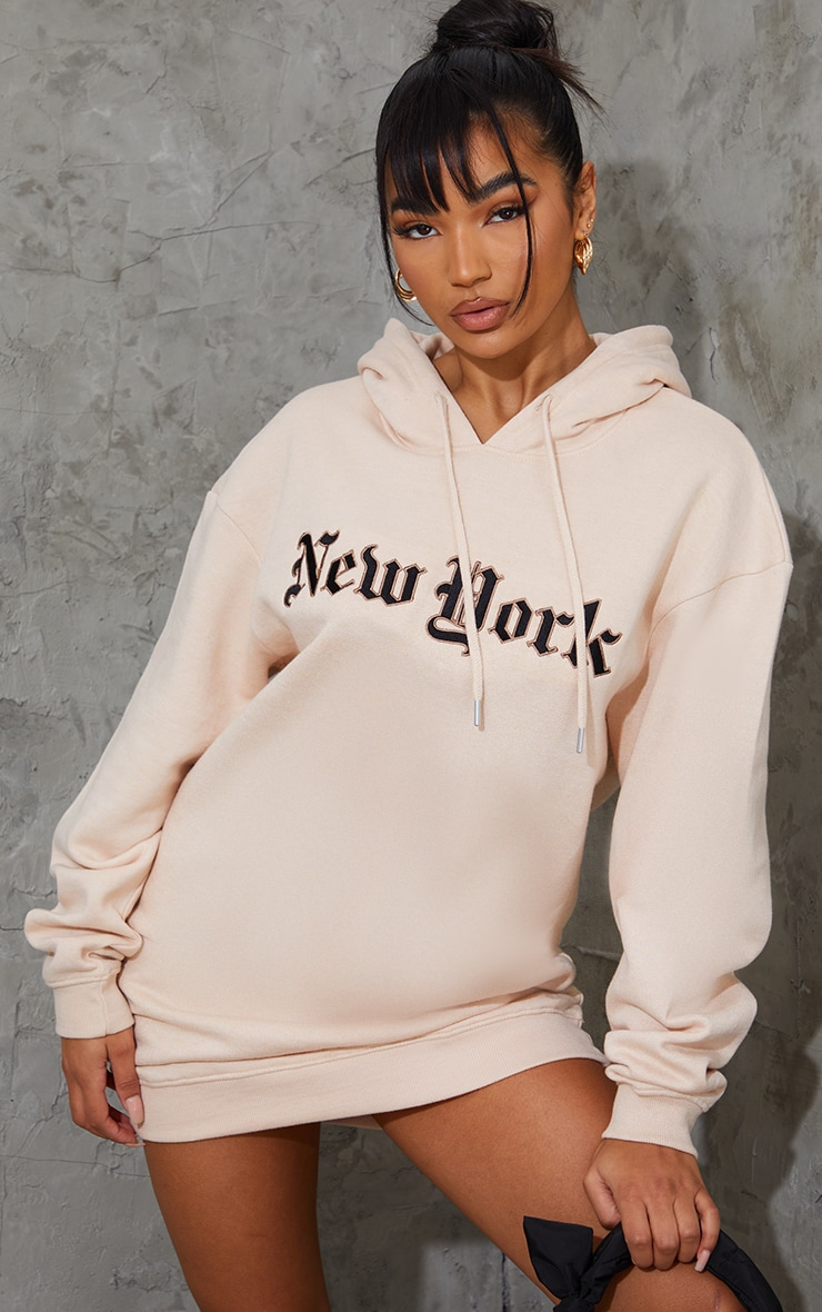 New York Stone Gothic Slogan Sweatshirt Dress 3