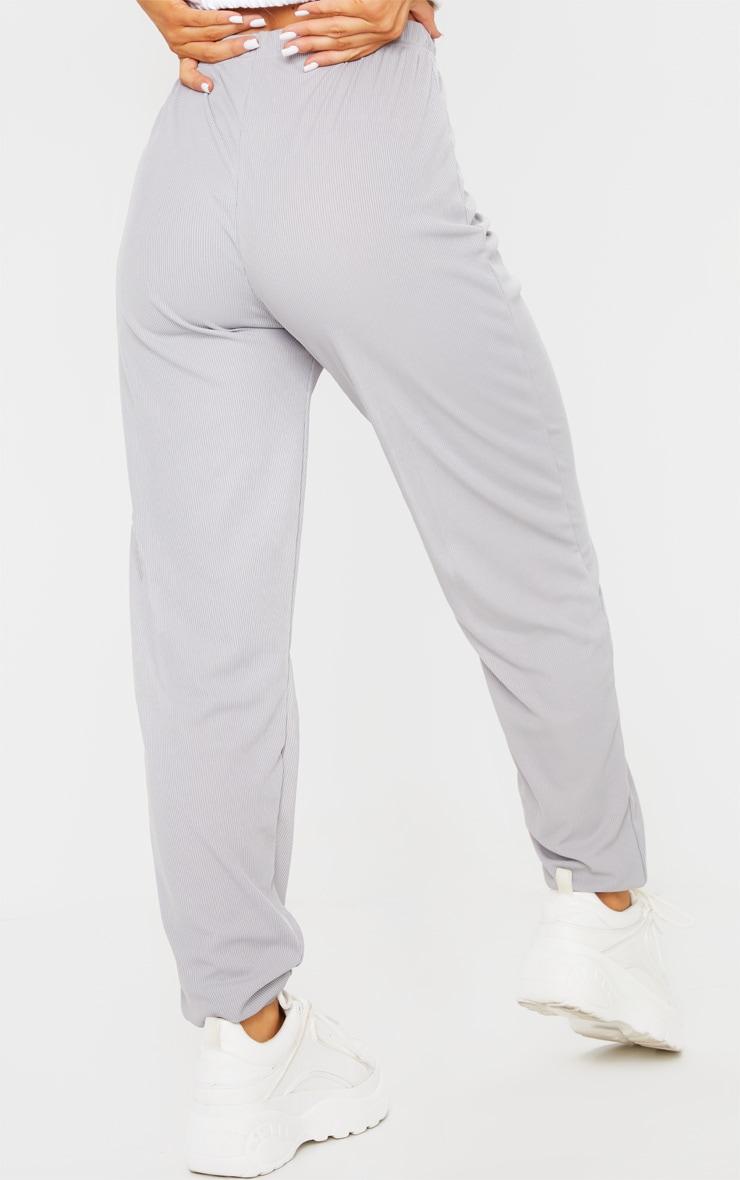 Grey Ribbed Casual Joggers 3