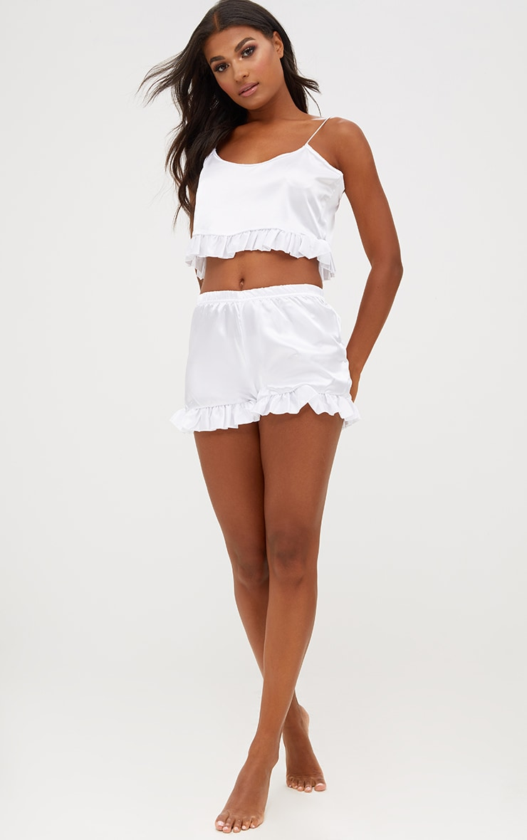 White Satin Ruffle Detail PJ Set 5