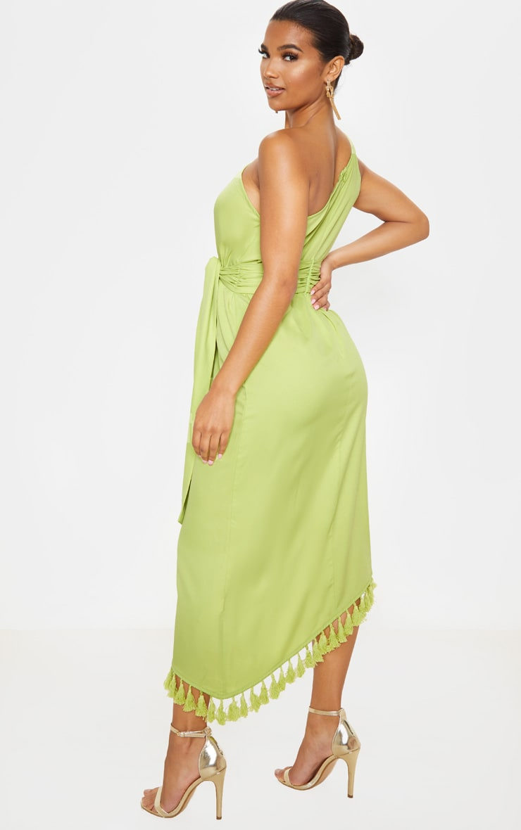 Lime One Shoulder Tassel Dress 2
