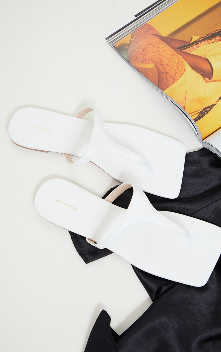 White Square Toe Toe Thong Sandals 3